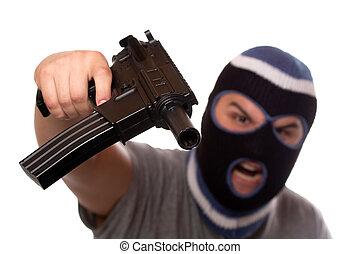 terrorista, apontar, automático, arma