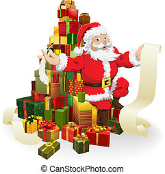 Santa with gifts list - Santa with his list and and quill...