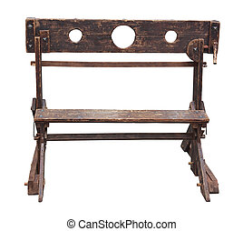 medieval pillory, antique device used for punishment by...