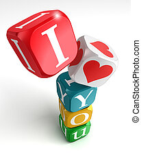 i love you 3d colorful box tower