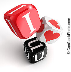 i love you 3d dices