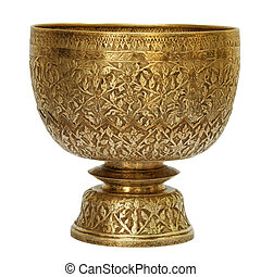 Old antique vintage bronze, brass bowl, isolated on white...