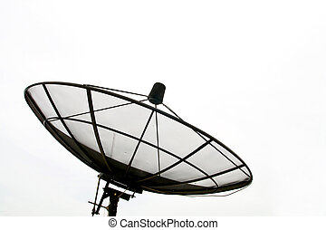 Satellite Dish - Big Black Satellite Dish isolated on White...