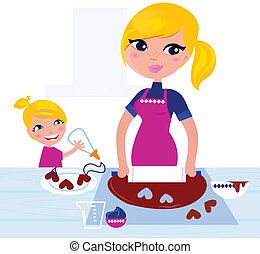 Cute Girl helping her Mother with christmas baking - Happy...
