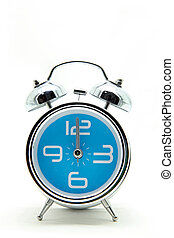 isolated blue alarm clock on white
