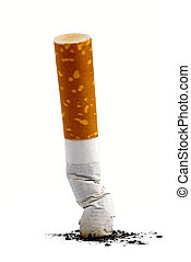 Cigarette butt with ash over white background