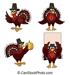 Thanksgiving turkeys set - Four cartoon thanksgiving turkeys...
