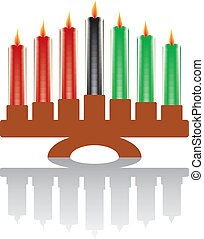 seven kwanzaa candles in vector