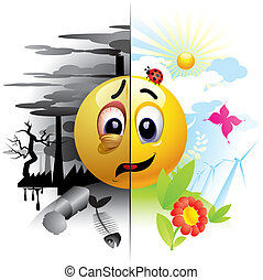Smiley ball sending message about pollution