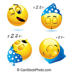 Smileys - Sleeping smiley balls in different position