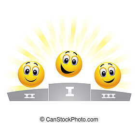 Smileys - Three smiley balls in the winners podium