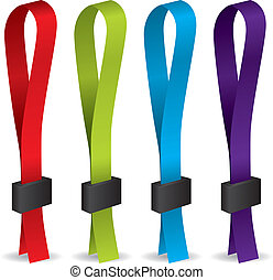 Color lanyards with lock on white background