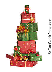 Stack of christmas presents - High up stack of red and green...