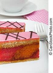 Punch Cake - Sweet Dessert on White Plate on Table