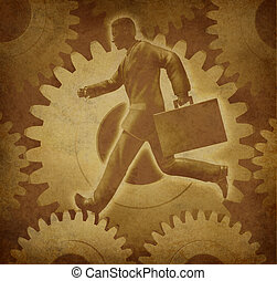 Business man racing on grunge text - Success with business...