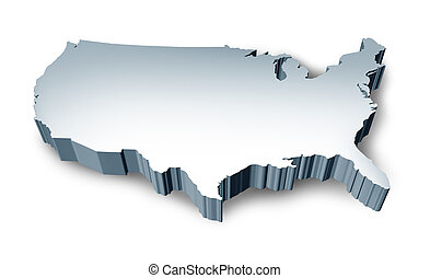 United States blank 3D map isolated on white background