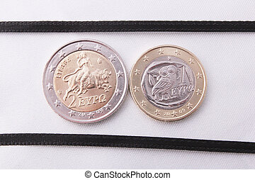 Two greek euro coins