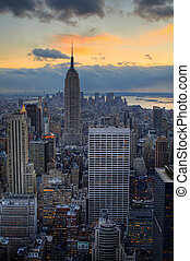 Midtown Manhattan with Empire State Building at dusk