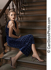 beauty girl sitting on stairs