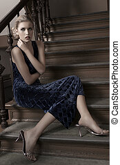 elegant fashion portrait - fashion shot of an elegant blonde...
