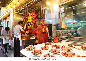 A very traditional roasted meat rice shop in Hong Kong The...