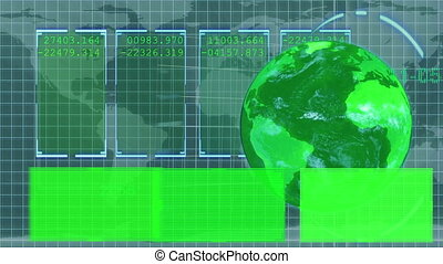 Animated green Earth displaying copy spaces with a map on...