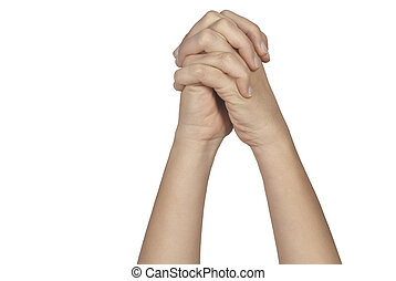 Praying hands isolated on white background - Praying woman...