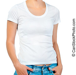 white t-shirt on a girl