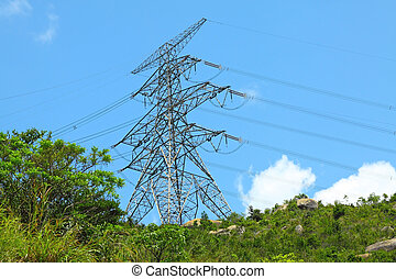 Power lines with high voltage