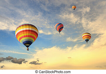 Colorful balloons with dramatic sky - Colorful balloons...