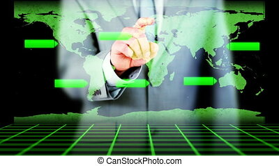 Hand of a businessman activating
