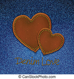 Realistic vector denim background with leather hearts.