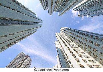 Hong Kong crowded apartment blocks