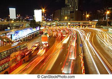 Traffic jam in Hong Kong outside the tunnel