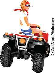 Girl riding quad - A very accurate illustration about tour...
