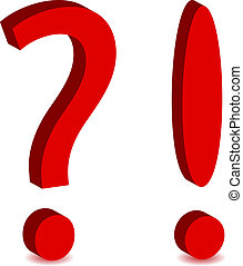 Question and exclamation mark on white background