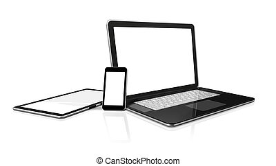 laptop, mobile phone and digital tablet pc computer