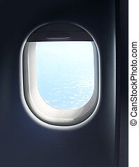 Jet plane cabin window