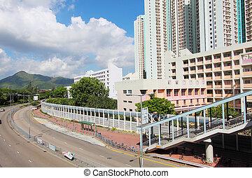 Tin Shui Wai district in Hong Kong at day