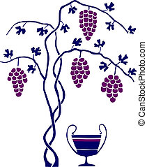 Grape tree and bowl of wine on white background