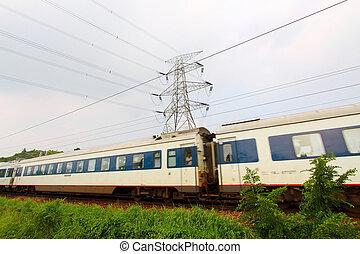 Moving train in Hong Kong at day