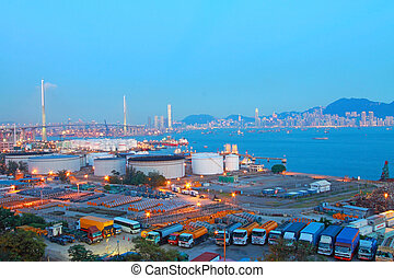 Hong Kong bridge and cargo container terminal