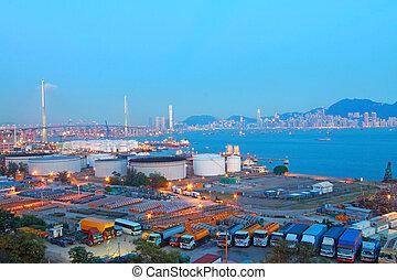 Hong, Kong, Puente, carga, contenedor, terminal
