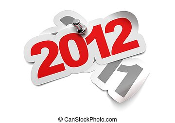 2012 sticker fixed onto 2011 - 3d greeting card over a white background, numbers are fixed with a metal thumbtack