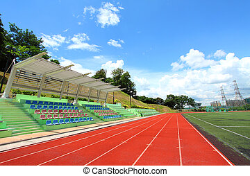 Stadium chairs and running tracks