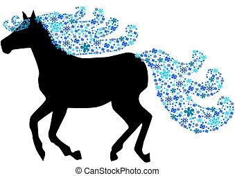 Horse with floral mane