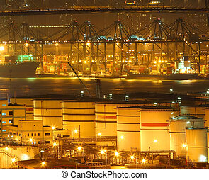 Oil tanks in container terminal