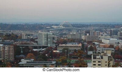 Fremont Bridge Portland Oregon - Fremont Bridge and Moonrise...