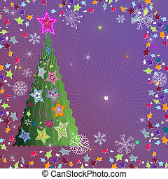 Christmas frame - Christmas violet frame with tree, stars...