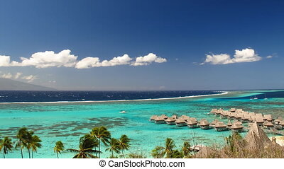 Moorea Lagoon - Time Lapse Clouds over Moorea Lagoon, French...